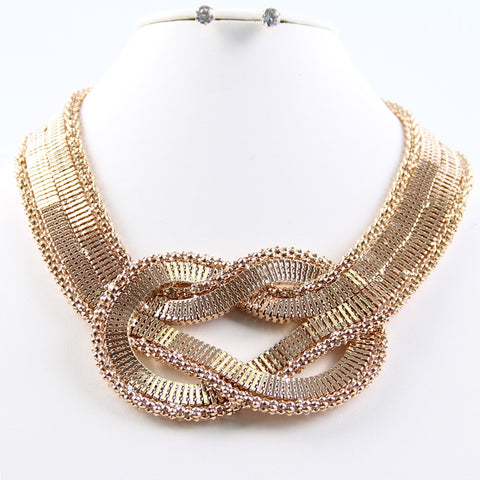Twisted Gold Necklace Set