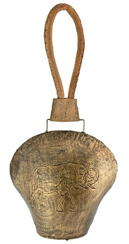 Elephant Carved Temple Bell on Leather Cord