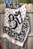 Om Table Cloth/Bedspread - Black on White - Neko-Chan Incense