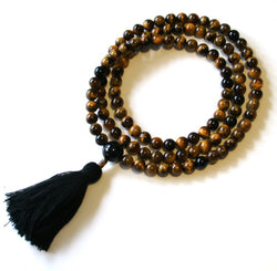 Tiger Eye Mala with Onyx