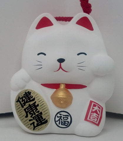 Maneki-Neko Fortune Cat Bell - White - Neko-Chan Incense