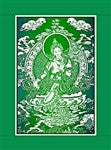 Green Tara Single Flag with Border - Neko-Chan Incense