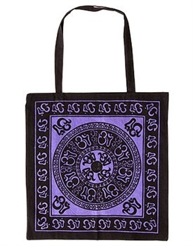 Om Mandala Cotton Bag - Purple/Black
