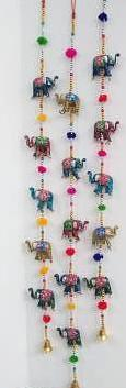 Lacquered Elephants, String of 5 with bells and beads - Neko-Chan Incense