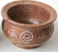 Carved Stone Bowl, Spiral with Om Symbol