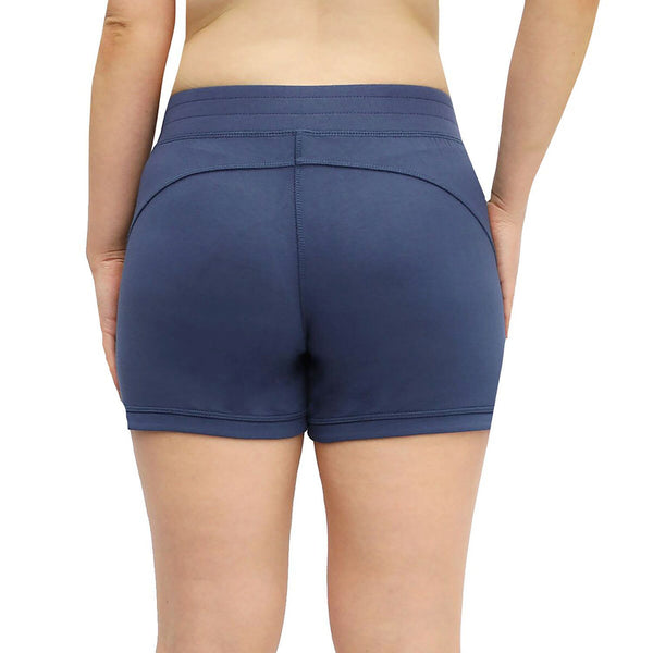 Active Life Womens Active Terry W/Zipper Pockets Short, Heather Denim