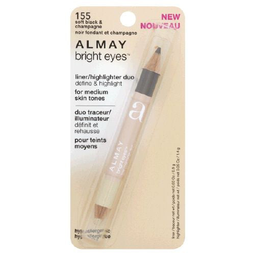 Almay Bright Eyes Liner/Highlighter Duo, Soft Black & Champagne 155
