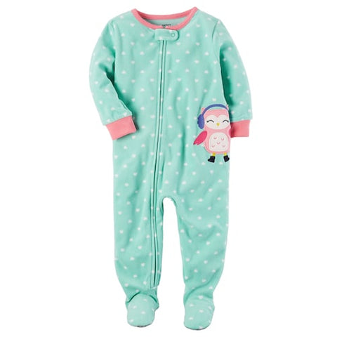 Carter's Heart-Print Owl Footed Fleece Pajamas, Baby Girls (6 Months -5T) 1-Piece - ADDROS.COM