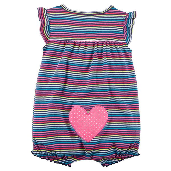 Carter's Baby Girls' Multi Striped Snap up Cotton Romper 3-M - ADDROS.COM
