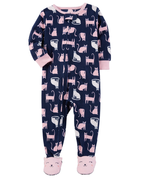 Carter's Blanket Sleeper Cat-Print Footed Pajamas, Baby Girls (6 months-5T) 1-Piece