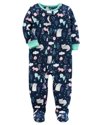 Carter's Forest-Print Footed Fleece Sleep & Play Pajamas, Baby Girls - ADDROS.COM