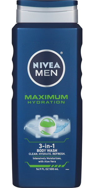 NIVEA Men Maximum Hydration 3 in 1 Body Wash 16.9 Fluid Ounce - ADDROS.COM