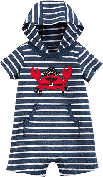 Carter's Baby Boy Pirate Crab Striped Hooded Romper 6-M