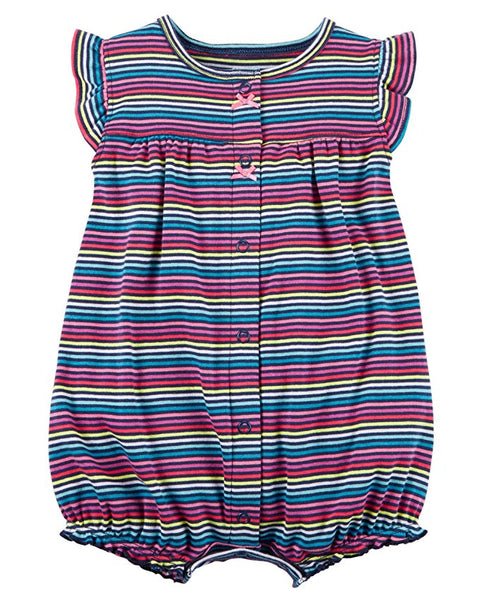 Carter's Baby Girls' Multi Striped Snap up Cotton Romper 3-M