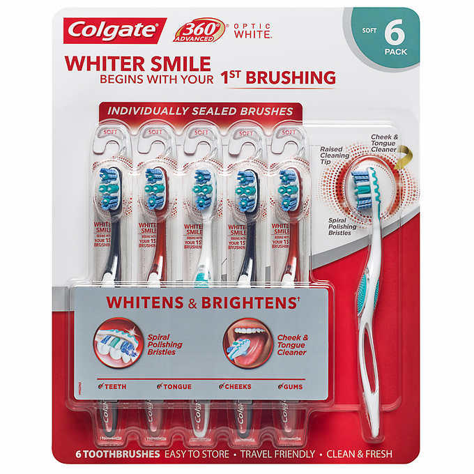 Colgate 360 Advanced Optic White Toothbrush, Soft (6-Pack)