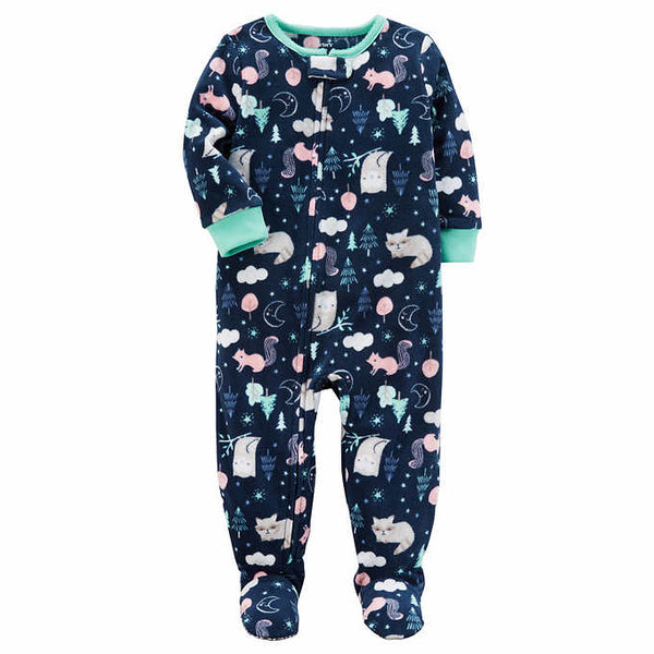 Carter's Forest-Print Footed Fleece Sleep & Play Pajamas, Baby Girls