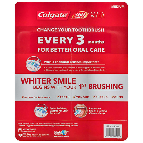 Colgate 360 Advanced Optic White Toothbrush, Medium (6-Pack)