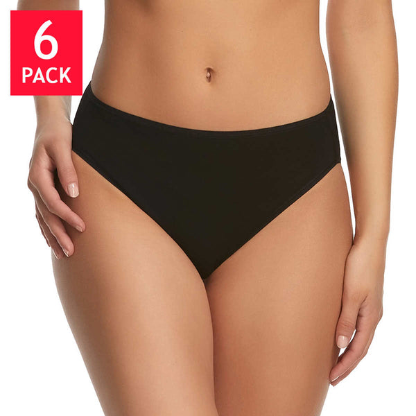 Felina Ladies' Cotton Stretch,  Hi Cut Bikini (6-pack)