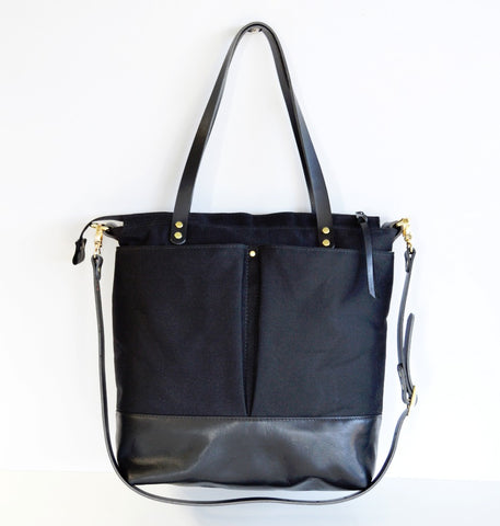 Black canvas and black leather diaper tote bag