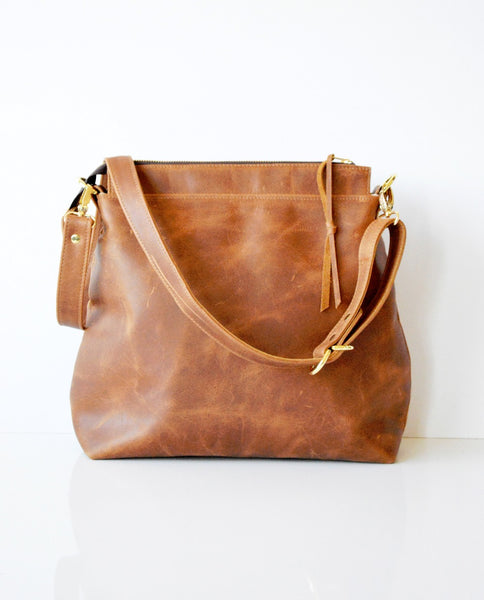 Toffee Leather Hobo Bag