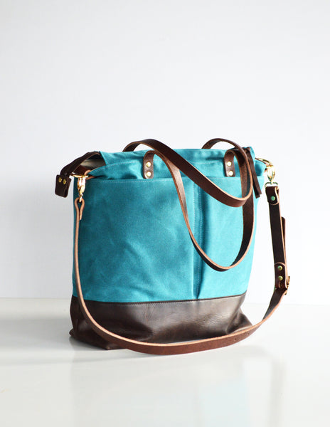 Teal and leather Diaper Bag 1.jpg