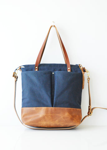 Navy and toffee diaper bag 2.jpg