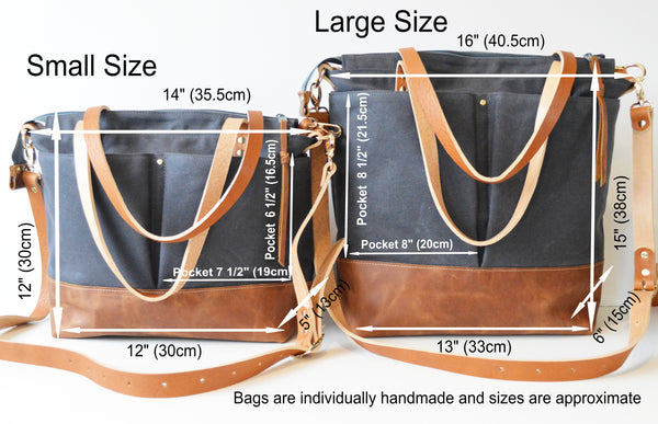 Detailed sizing information for large and small diaper bags
