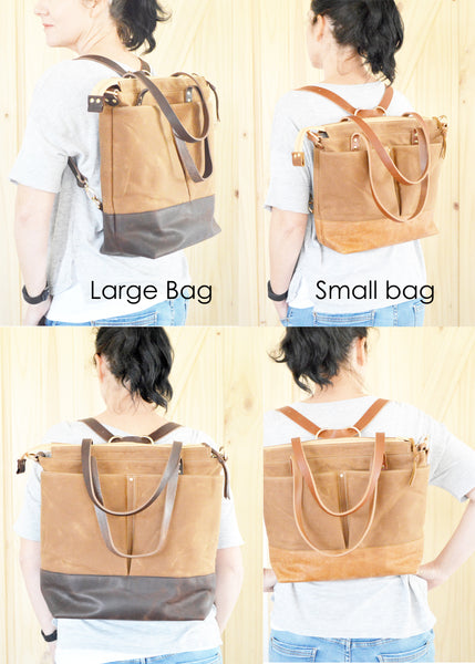 Diaper Tote Bag Taupe Waxed Canvas and Dark Brown Leather