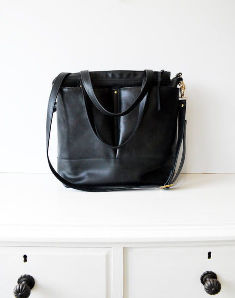 Black Leather Diaper Tote Bag