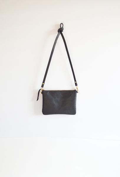 The Minimalist Leather Crossbody Bag in Black