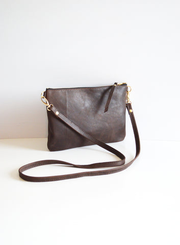 The Minimalist Leather Crossbody Bag in Brown
