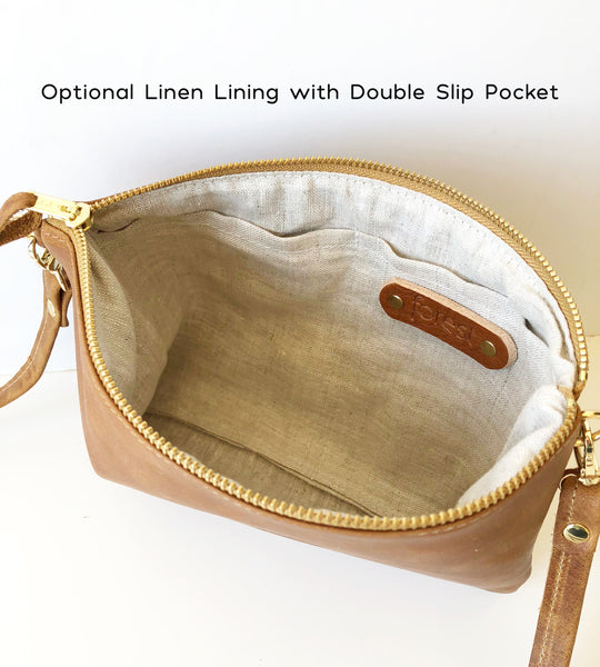 Modern Geometric Leather Crossbody Bag in Hazelnut
