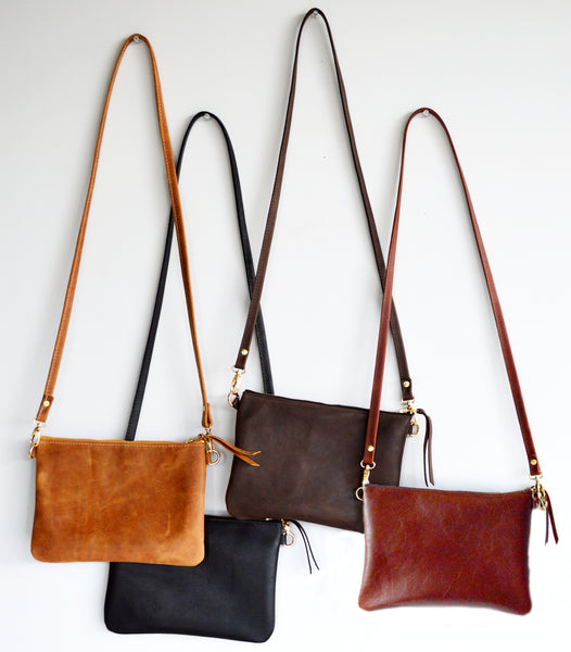 The Minimalist Leather Crossbody Bag in Toffee