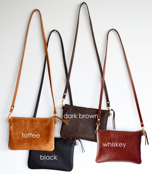 The Minimalist Leather Crossbody Bag in Whiskey