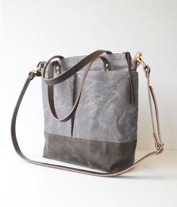 Diaper Tote Bag Dark Grey Waxed Canvas and Dark Brown Leather