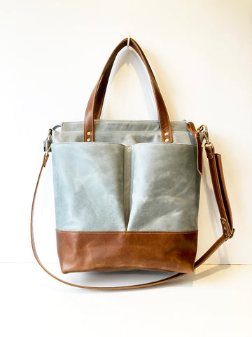 Elephant Grey and Toffee Tan Leather Diaper Tote Bag