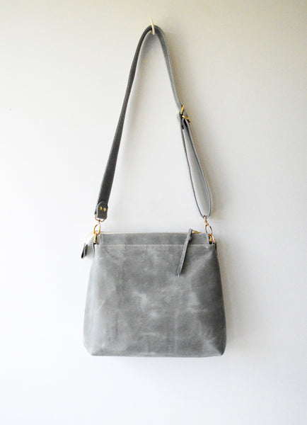 Leather Hobo Bag in Elephant Grey