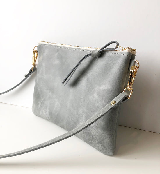 The Minimalist Leather Crossbody Bag in Elephant Grey