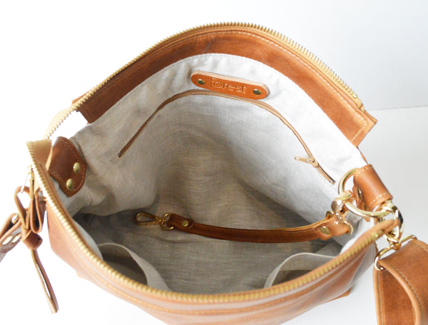 Leather Hobo Bag in Toffee
