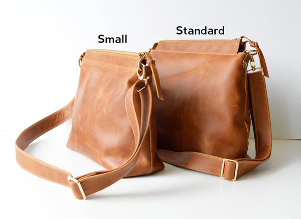 Leather Hobo Bag in Hazelnut