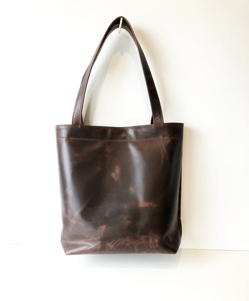 Classic Leather Tote Bag in Dark Brown Antiqued Leather