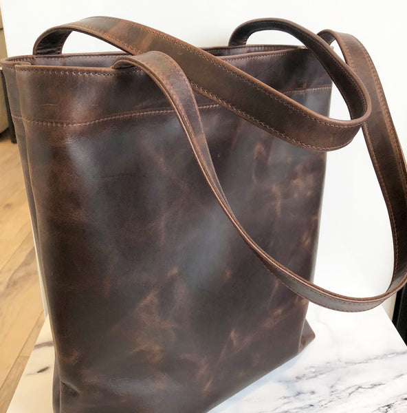 Classic leather tote bag in butter soft dark brown leather