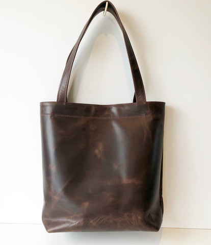 Handmade Dark Brown Classic Leather Tote Bag