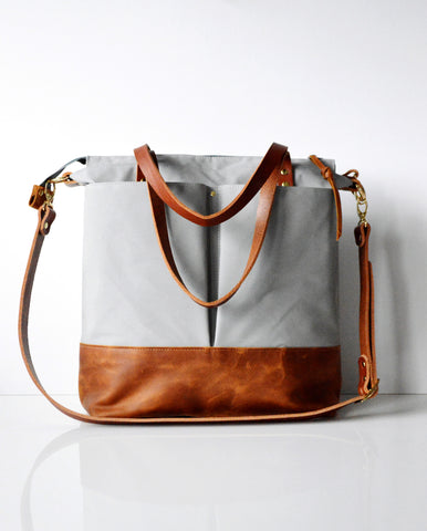 Diaper Tote Bag Light Grey Canvas and Toffee Leather