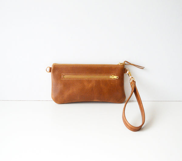 Toffee Leather Mini Zipper Crossbody Purse and Clutch Bag