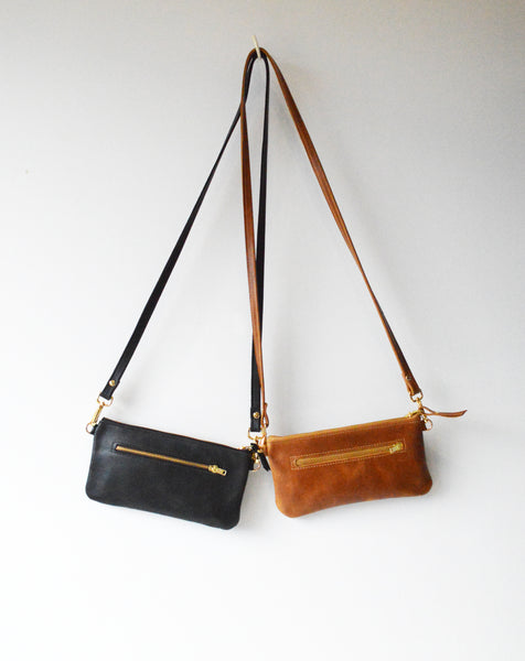 Black Leather Mini Zipper Crossbody Purse and Clutch Bag