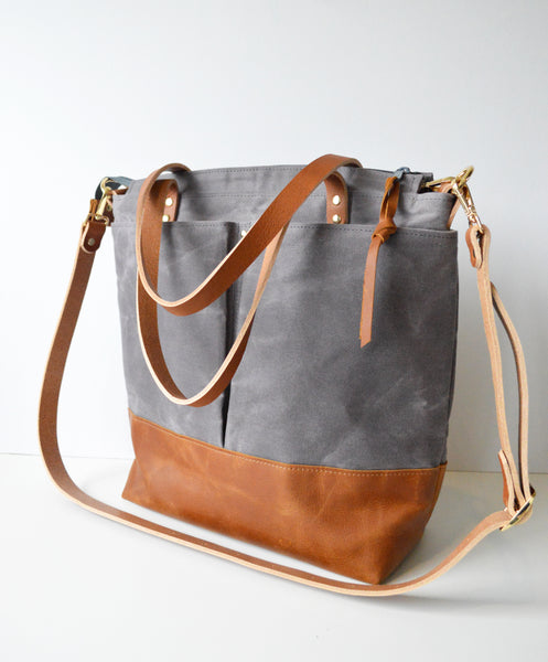 Diaper Tote Bag Dark Grey Waxed Canvas and Toffee Leather
