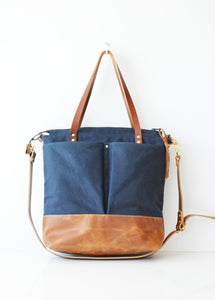 Diaper Tote Bag Navy Waxed Canvas and Toffee Leather
