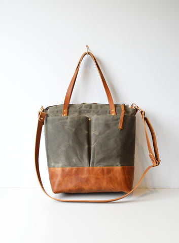 Diaper Tote Bag Olive Green Waxed Canvas and Toffee Leather