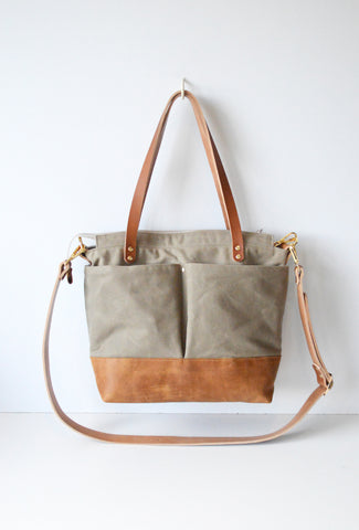 Diaper Tote Bag Taupe Waxed Canvas and Tan Leather